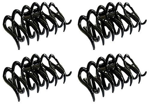 Ensemble de 4 Pince à cheveux griffe unique modèle Bulldog - Noir