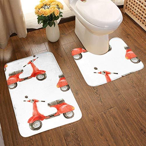 LUCKY Home Patrón de acuarela sin costuras con scooter 2 piezas juego de alfombra de baño, diseño 3D personalizado superabsorbente, antideslizante, grueso, juego de alfombrillas de baño