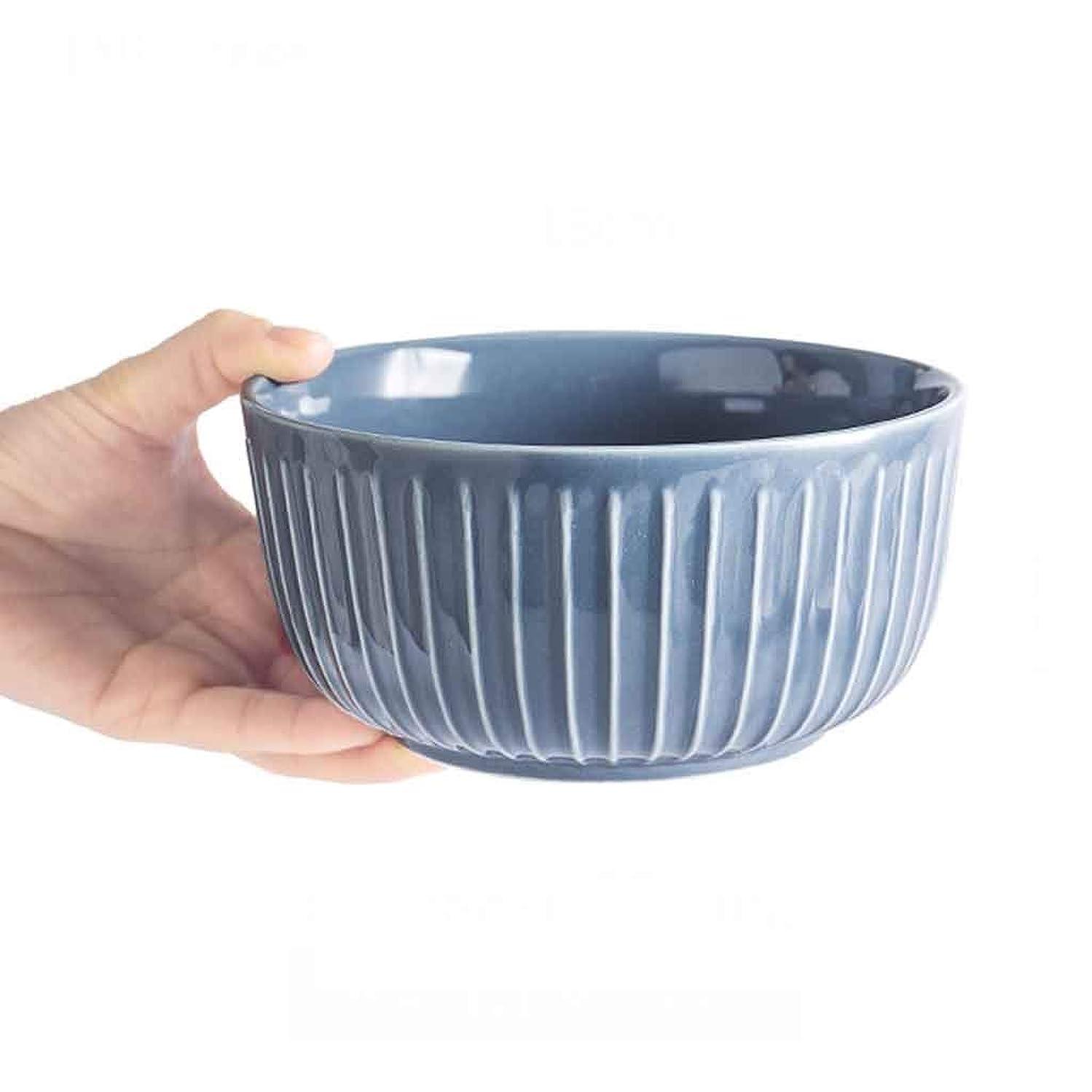 トライアスロン途方もない変装したスープボウル、家庭用ソリッドカラー4.5インチヨーロッパレトロセラミックボウルライスボウルお粥ボウル用ホームキッチンレストラン食器フルーツスナックボウルデザートボウル (色 : Blue-gray, サイズさいず : 4.5inchx2)