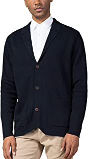 Kallspin Men's Cotton Blend Cardigan Sweater Relaxed Fit Casual Turndown Collar Knitwear with Buttons & Pockets