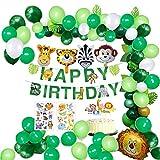 MMTX Dschungel Geburtstag Dekorationen Junge- Kindergeburtstag Deko Happy Birthday Girlande mit Palmblättern, Luftballons und Safari Wald Tier für Kinder Kindergarten Geburtstagsdeko (65 Teil)