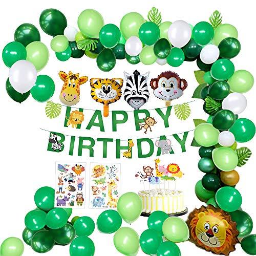 🦁【Supplies Suministros para fiestas temáticas de la jungla】: Hay 13 letras de animales de safari para Banner de FELIZ CUMPLEAÑOS, 6 piezas de hojas de palma, 7 piezas de recortes de cupcakes de animales, 2 piezas de hojas de pegatinas de animales, 32...