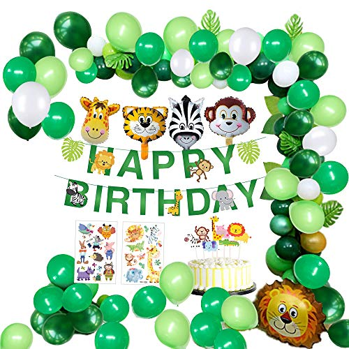 MMTX jungle verjaardag decoraties jongen- kinderverjaardag deco Happy Birthday slinger met palmbladen, luchtballonnen en safari bos dier voor kinderen kinderdagverblijf verjaardagsdecoratie (65 stuks)