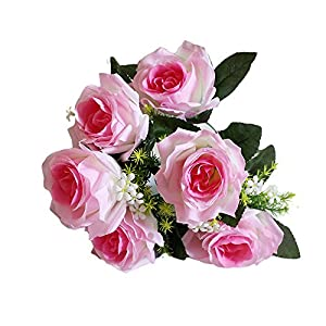 Silk Flower Arrangements Artificial Cemetery Funeral Flowers, Realistic Vibrant 7 Heads Rose, Outdoor Grave Decorations - Non-Bleed Colors, and Easy Fit