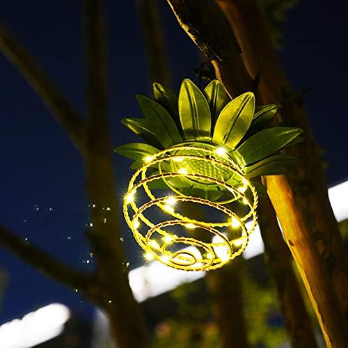 Luz de jardín solar jardín hogar LED lámpara de alambre de cobre luz de paisaje luz de piña luz colgante de piña impermeable al aire libre