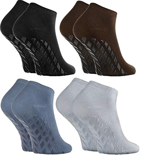 Rainbow Socks - Hombre Mujer Calcetines Cortos Antideslizantes de Bambu - 4 Pares - Negro Marrón Amarillo Gris - Talla 36-38