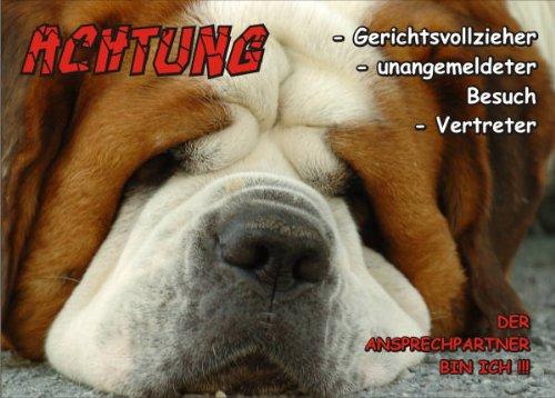 INDIGOS UG - Türschild FunSchild - SE310 DIN A4 ACHTUNG Hund BERNHARDIN?ER - für Käfig, Zwinger, Haustier, Tür, Tier, Aquarium - aus hochwertigem Alu-Dibond beschriftet sehr stabil
