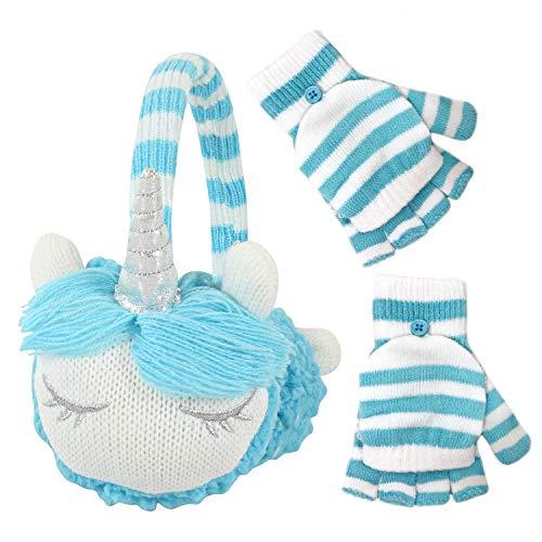 PEAK 2 PEAK Boys and Girls Animal Winter Earmuff and Cut Finger Gloves with Cover Set, Age 4-7 (Unicorn Earmuff)