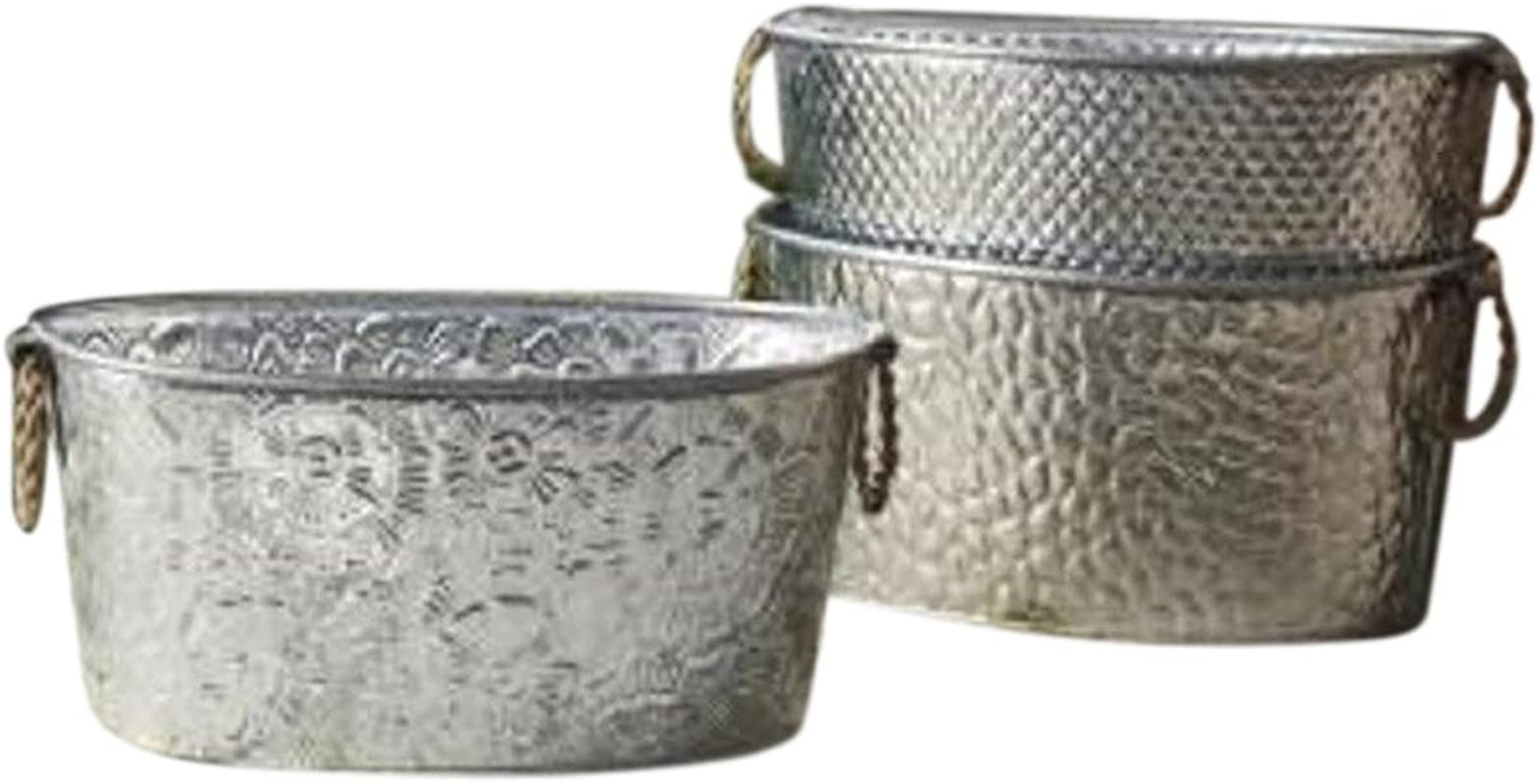 Oval Assorted Galvanized Tubs With Metal Handles 1 Per Order