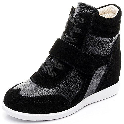 rismart Damen Keilabsatz Klettverschluss Brogue Knöchel Komfort Schuhe Mode Sneaker SN8599(Schwarz,EU39)