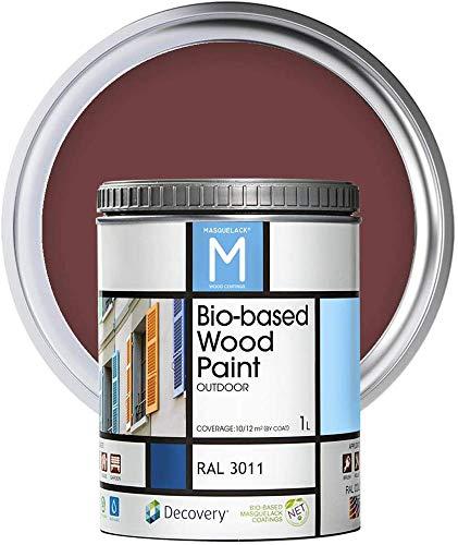 Pintura para Madera | Bio-based Wood Paint RAL 3011 | 1 L | Pintura Ecológica para Todo Tipo de Madera | Pintura Madera Exterior Semi Mate | Color Rojo