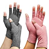 Arthritis Compression Gloves (2-Pairs) | Ease Muscle Tension, Rheumatoid & Osteoarthritis Joint Pain Relief-Carpal Tunnel Support, Fingerless Compression Arthritis Gloves for Men & Women (Pink, L)