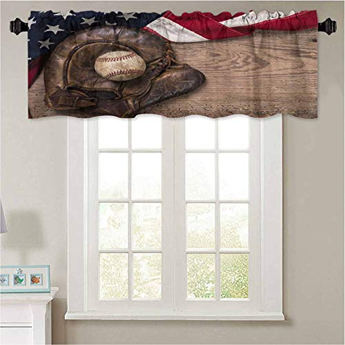 """YUAZHOQI Window Valances Vintage Weathered Baseball and Glove with Vintage American Flag on a Rustic Wooden Board Thermal Insulated Valance for Living Room 42"""" W x 18"""" L"""