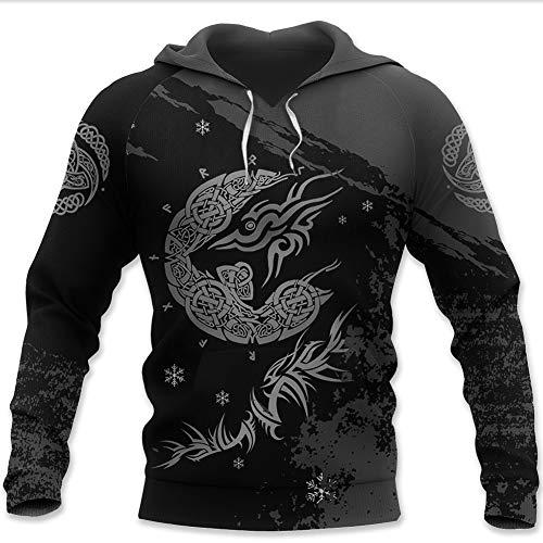 Wikinger-Sweatshirt, nordische Mythologie, Rune, Tattoo, Reißverschluss, 3D-Druck,...