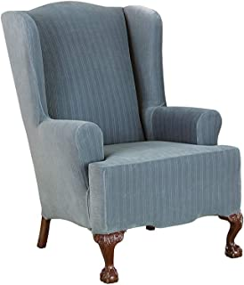 SureFit Stretch Pinstripe - Wing Chair Slipcover - French Blue