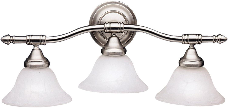 Kichler 6293NI Bath Vanity Wall Lighting Fixtures, Brushed Nickel 3-Light (24  W x 11  H) 300 Watts
