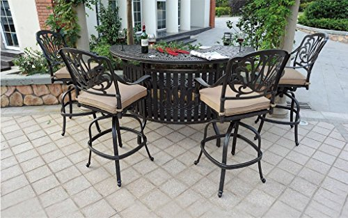 Theworldofpatio Elizabeth Cast Aluminum Powder Coated 5pc Party Bar Set with Party Bar Table - Antique Bronze