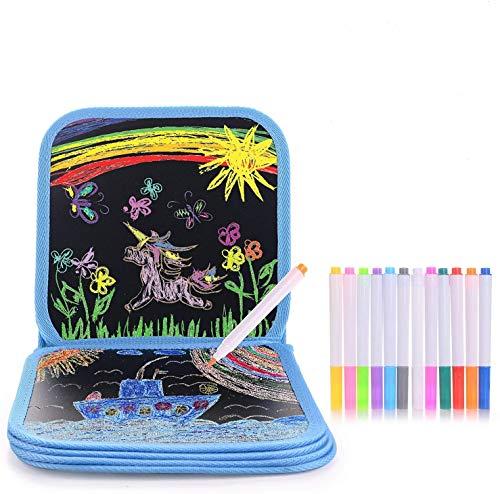 HellDoler Portatile da Disegno per Bambini, Doodle Disegno Giocattoli Libro di Pittura per Bambini con 12 Penne cancellabili Colorate, Lavagna a Doppia Faccia, Reuseful, 14 Pagine