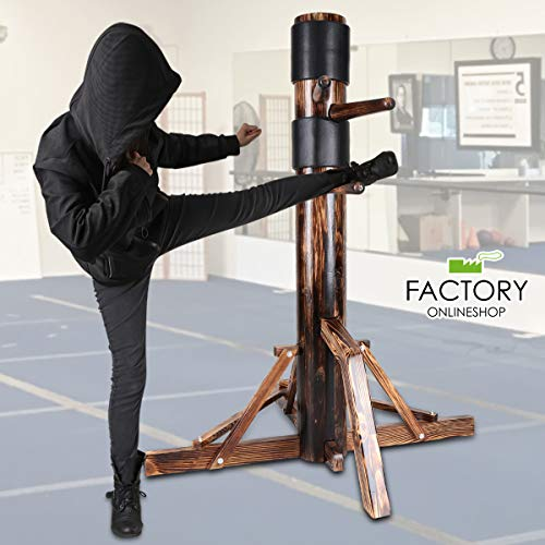 Wing Chun Wooden Dummy IP Man Jeet Kune Do Martial Arts Training with Striking Protective Pads (Wood Color Tripod Base)