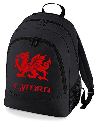 Cymru Flag of Wales – Welsh regional Pride Graphic Unisex Rucksack Rucksack Rucksack Rucksack, Schwarz (Schwarz) - BPK1432-BLACK