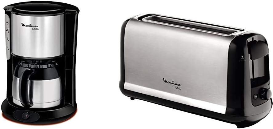 Moulinex FT360811 Cafeti/ère Filtre Subito Isotherme 8-12 Tasses Verseuse Inox Anti-Goutte Noir /& MOULINEX Subito inox Grille pain 1 longue fente toaster Thermostat 7 positions D/écongelation