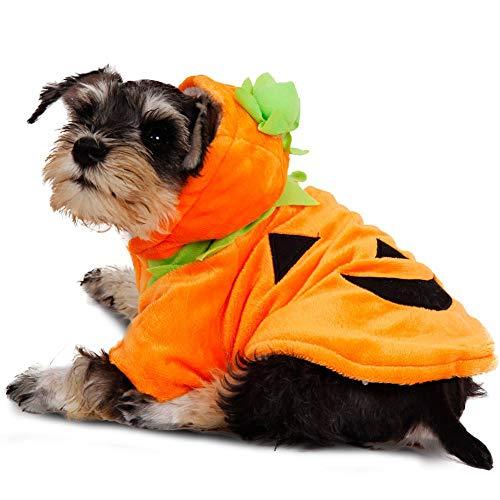 Delifur Dog Cat Halloween Pumpkin Costume Puppy Fleece Hoodie Coat for Small to Medium Dogs (S)