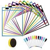 12 Pack Resuable Dry Erase Pockets, ZWOOS Reutilizable Escribir y Limpie los Bolsillos limpios, Bolsillos Transparentes con Bolígrafos para la Organización en el Aula y Colegio y Trabajo, 35.5×25.5cm