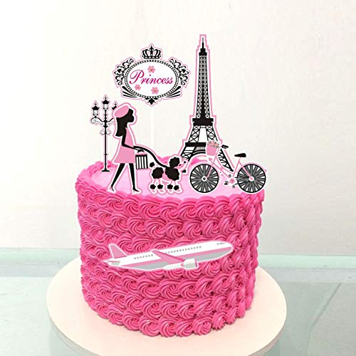 PureArte DIY Happy Birthday Diva Fashion Theme Cake Decoration Set For Girls And Women Party Decoration Lipstick Tote Bag France Paris Glasses Flowers Props