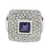 joyas plata buenas piedras preciosas forma cuadrada multi piedra facetada anillo de iolita - anillo de plata de ley azul iolita - nacimiento de febrero acuario