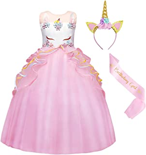 AmzBarley Girl Dress Color Tulle Long Cake Tutu Skirt Unicorn Princess Dresses Festival Performance Costume