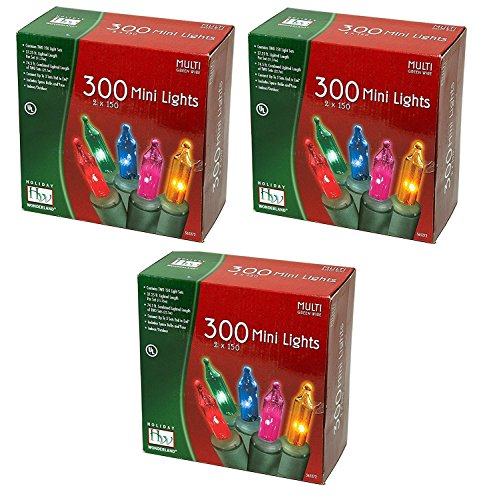 Noma/Inliten Holiday Wonderland's 300 Mini Luces Set, Multicolor, Paquete de 3