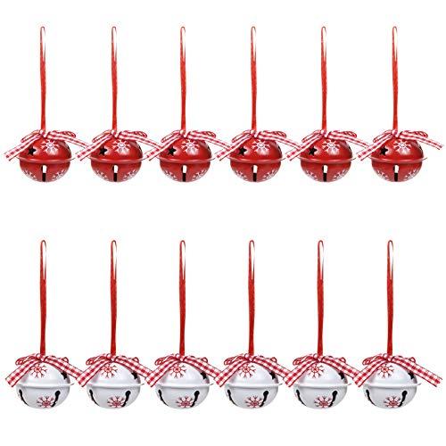 LIHAO 12 Stück Glöckchen Weihnachtsdeko Schmuck Weihnachtsbaum Anhänger Glocken Schneeflocken Dekoration Schellen Rot Weiß