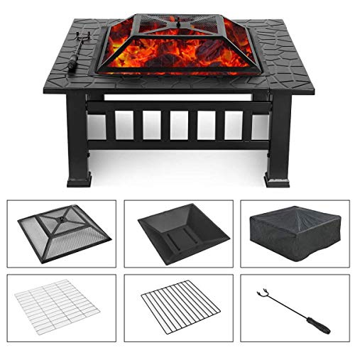 Outdoor Fire Pit Upland Fire Pit Set with Log Grate, Spark Screen, Fire Poker, Lid and Cover - Patio Fire Pit Square Firepits for Outside (24' L28 W7.5 H, Black)