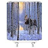 wanshangcheng Nature Shower Curtain Dreamy White Brich Tree Moose In Forest Winter Woodland Water Reflection Snow Scene Fabric Bathroom Decor Set with Hooks Yellow Brown 72x72 Inch