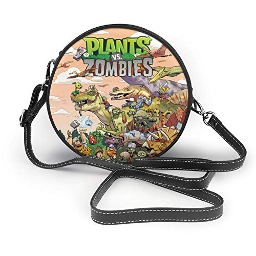 XCNGG Plants Vs Zombies Ladies Fashion Round Crossbody Zipper Shoulder Bag Soft Leather Ring Wallet Mobile Phone Bag Coffee