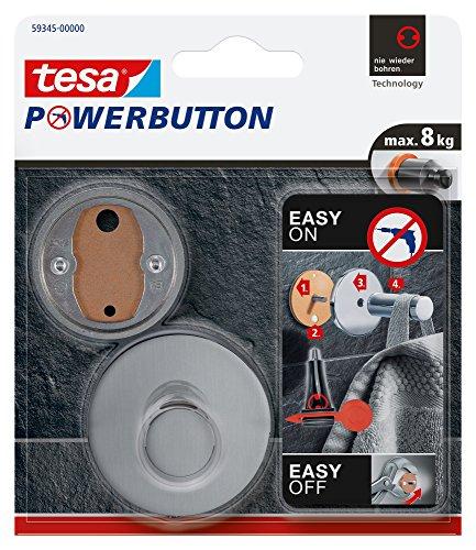 Tesa Powerbutton Premium Haken silber-matt