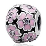 Pink Cherry Blossom Charm Flower Charm Authentic 925 Sterling Silver Beads for DIY Charms Bracelets (Pink)