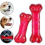 Furpaw Giochi da Masticare per Cani, Squeak Bone Dog Chew Toy Cane Spazzolino da Denti per Cani, Osso per Cani da Masticare Pulizia Denti Interattivo per Cani Piccoli e Media (2 Pezzi Rosso)