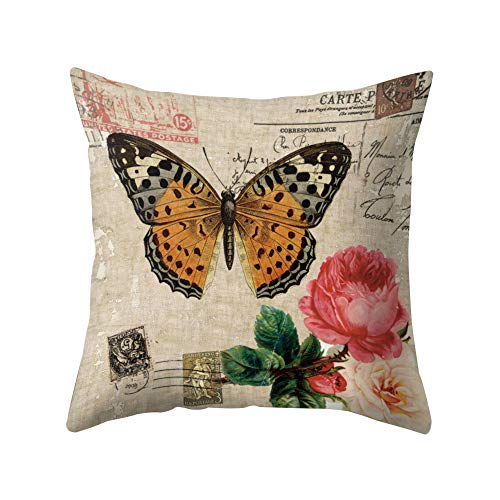 Sanwood rétro Fleur Papillon Bird Housse de coussin Couvre-lit Taie d'oreiller pour le salon Maison Chambre à coucher Sofa Coffe fête Décor