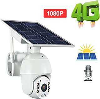 QLPP Solar Powered 4G cámara IP cámara de vigilancia 1080P HD al Aire Libre cámara de Seguridad a Prueba de Agua con visión Nocturna del Color Audio de 2 vías