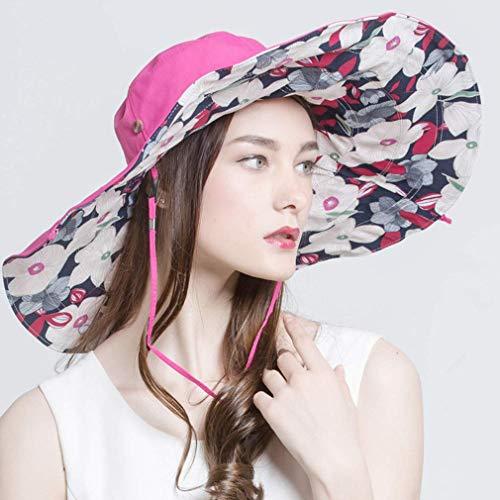 Chutd Sun Hat - Gorro de algodón para mujer, con borde ancho para verano, protección UV plegable, para pesca, playa, vacaciones, barco, cortavientos, ajustable, 56-58 cm, color beige Rosered