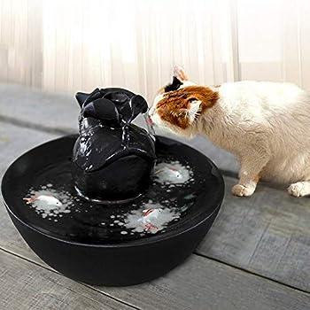 Pet water dispenser Fontaine à Boire Automatique pour Chats et Chiens - Bols à Eau électriques en céramique avec Pompe à Eau Ultra silencieuse (Color : Black)