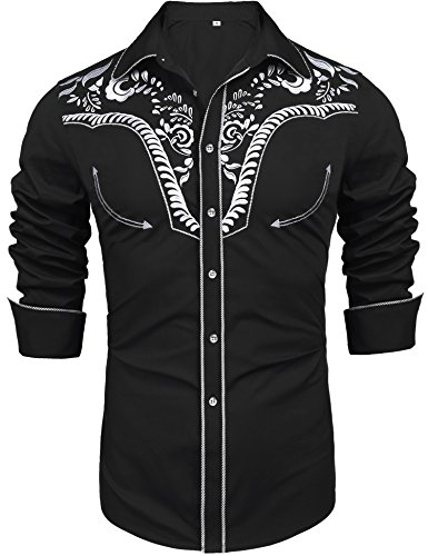 Daupanzees Men's Long Sleeve Embroidered Shirt Music Note Slim Fit Casual Button Down Shirts(Black XL)