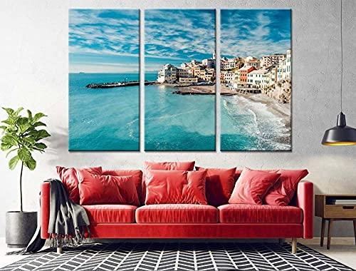QUANQUAN Quadro su Tela - 3 Pezzi 150 * 70CM Stampa su Tela Quadri su Tela 3 Pannelli Stampe Idilliaca Spiaggia costiera Italiana HD Poster Murale Quadri Decorazioni per Casa Moderni Soggiorno XXL