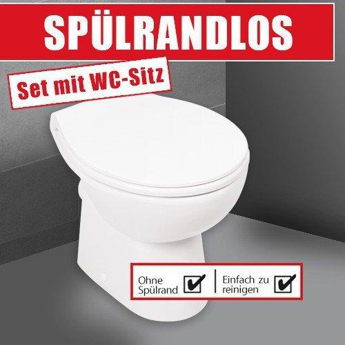 Stand-WC | Spülrandlos | Inklusive WC-Sitz | Tiefspüler | Abgang waagerecht | Weiß | Toilette | Spülrandloses WC | Klo | Toilettensitz | Stand-Wc | Design | Keramik | Modern | Hygiene - 2