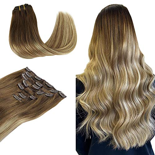 Wennalife Clip in Human Hair Extensions, 22 Inch 120g 7pcs Ombre Walnut Brown to Ash Brown and Bleach Blonde Clip In Human Hair Remy Clip in Hair Extensions Real Human Hair Double Weft