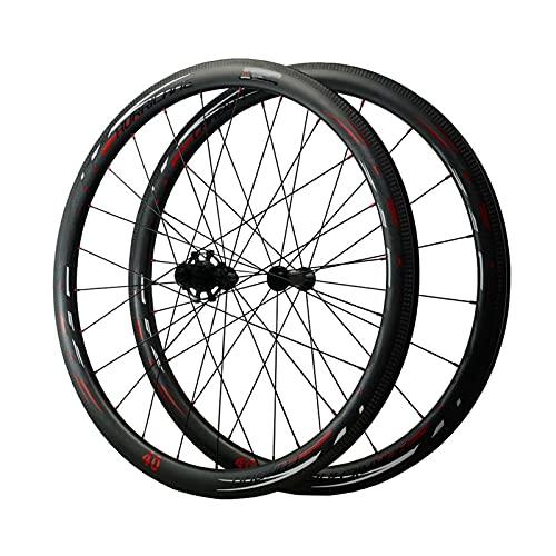 TANGIST Bicicletas de Carretera 700C 40MM Juego de Ruedas de Bicicleta Llantas Liberación Rápida C/V Juego de Ruedas de Bicicleta Teniendo 7 8 9 10 11 12 Velocidad