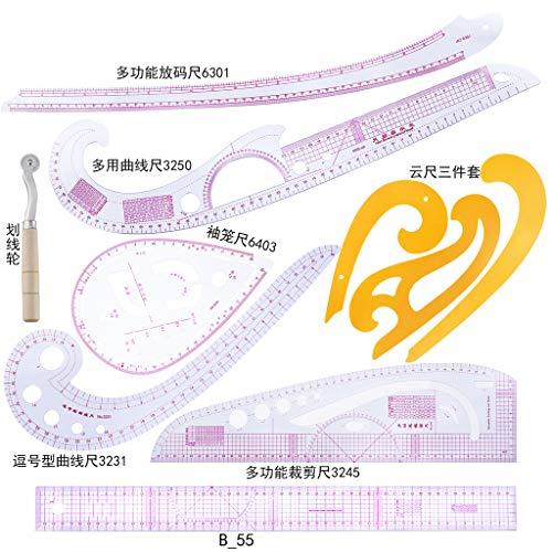 ZJL220 10 Unids/Set Sastre Dibujo Coma Línea Corte Recto Francés Curva Regla Ropa de Costura Reglas Herramienta