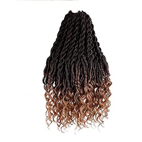 Tube de 18 pouces de long bouclé bouclée Braid Braid Crochet Perruque creuse Pigtail Crochet Extension de cheveux Synthétique Waou rameau tressé Cheveux Crochet Hair-1b / 27 #_9PS // 18 pouces