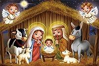 HD7x5ft漫画キリスト降誕のシーンの背景クリスマスの飼い葉桶の赤ちゃんイエス写真の背景教会の写真結婚式の肖像画クリスマスパーティーの装飾写真ブース小道具デジタル壁紙